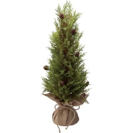 根元を麻で包んだ、松かさのついた55cmのコンパクトなツリーです。