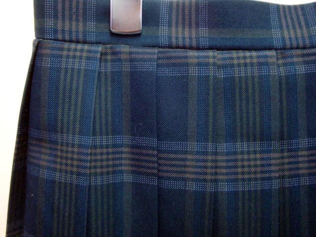 スカートの柄アップ。濃い灰緑色です。