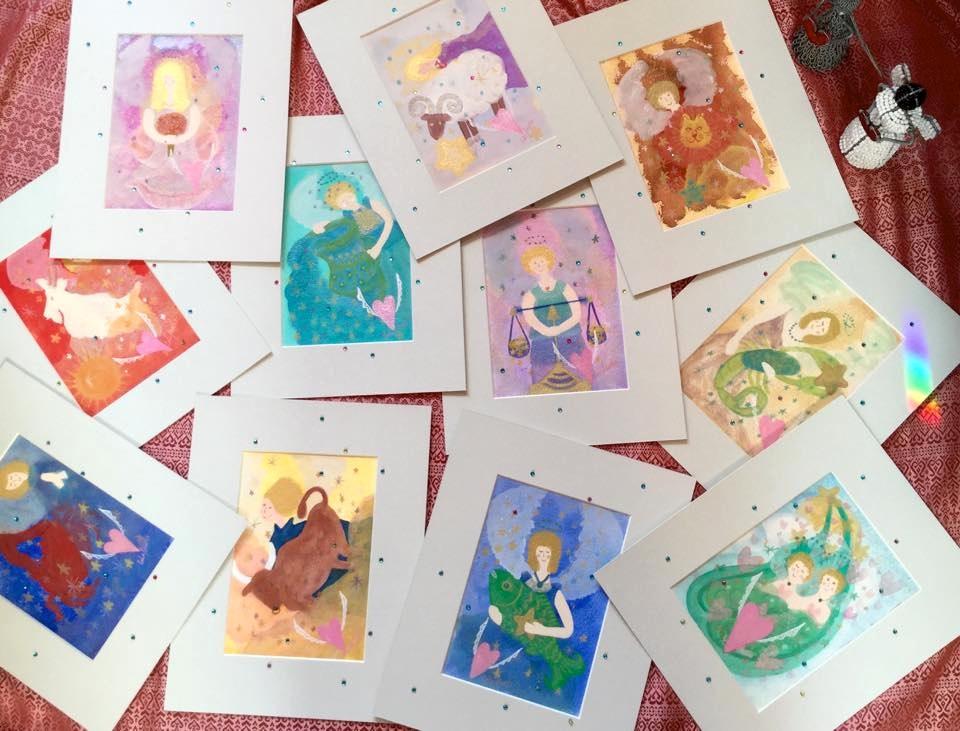 『見るだけで運がよくなる「天使の絵本」』にも掲載されている星座の天使たちの絵をアップしました♪