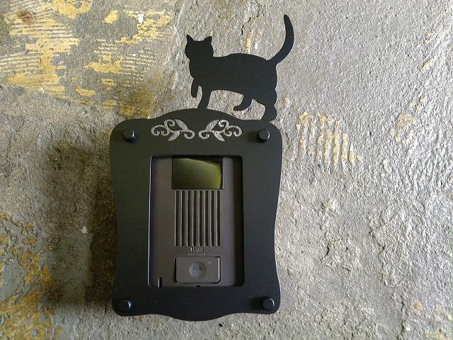 インターホンカバーAタイプ-黒 (猫)