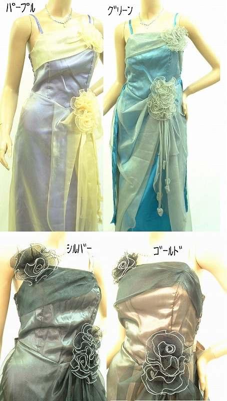 レースとの2枚仕立てで素敵なドレス お花のアクセサリ-3個は取外し可能でお好みに合わせて♪♪♪ このグレードでこの価格!!