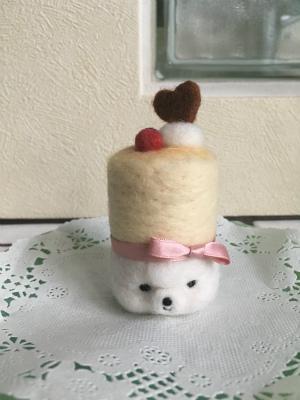 頭に乗せたバレンタインチーズケーキ