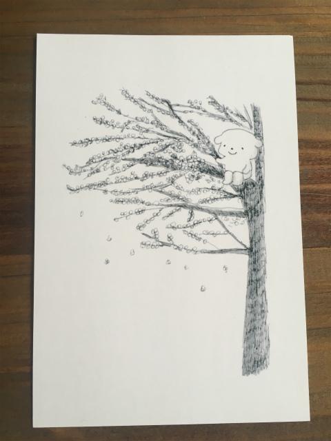 ちこちゃんと桜のポストカード