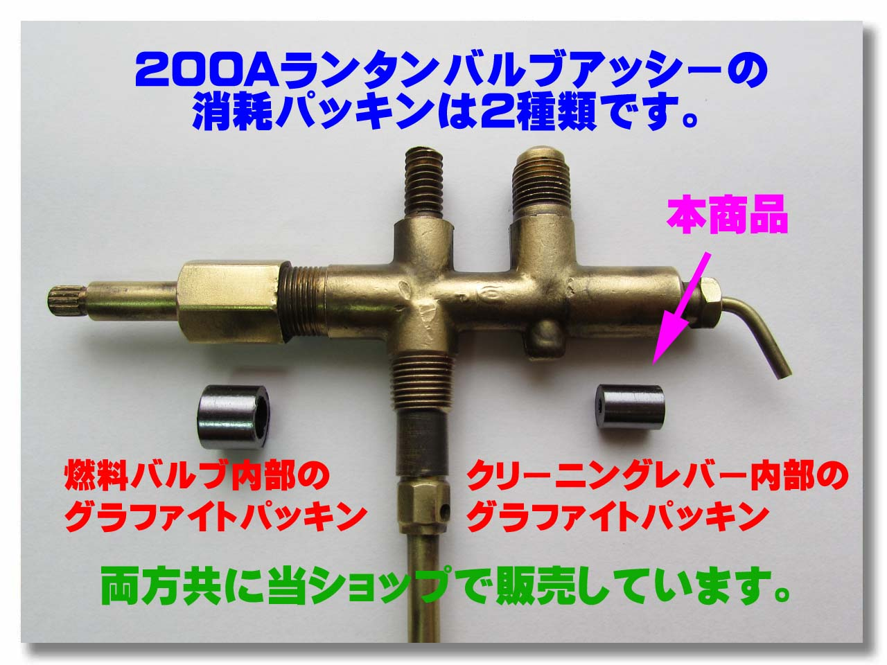 200系242系バルブアッシーの消耗品パッキン参考写真。