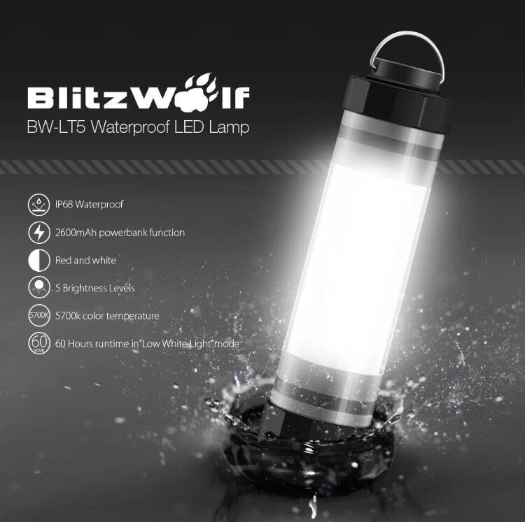 <p>BlitzWolf BW-LT5充電式防水LEDランプ 2600mAh <br><br>このLEDランプの機能が凄いです! <br>IP68waterproof <br /><br>「IP」とは「IEC(国際電気標準会議)」で防水・防塵の保護規格。IPに続く2ケタの数字の左側が「防塵等級」を、右側が「防水等級」を表しています♪ <br /><br>防水機能は9等級の最上級の防水機能とのこと♪ <br /><br>懐中電灯のようなスポットライトの光ではなく広範囲を照らしてくれるのでキャンプの時テントの中やテーブル、足元を広く照らしてくれます♪突然の雨でも気にせず使えますね! <br /><br>夜釣りや夜の作業でもつかえますし電気のない場所での読書や作業とかにも♪ <br /><br>突然の停電の時とかにも防水機能があるので浴槽やトイレでも気を使わず使えます。 <br>水の中でも点灯可能で大雨や雪でも気にすることなく使用できます。 <br /><br>※水深は約2mまで。※お湯には入れないでください。 <br><br>その他、警告灯にも早変わり♪ <br>白灯の他赤灯の点灯と点滅SOSモード付きです♪ <br /><br><br>もっと凄いのが! <br>バッ テリー容量が2600mAhで最長点灯時間は60時間♪ <br /><br>USB出力ポートも付いているのでスマートフォン・タブレットなどのモバイルデバイスを充電出来ま <br />す。(一部タブレットには充電出来ない場合がございます)いざという時は明かりの機能だけではなく、予備バッテリーとしても利用可能です。最大出力は 1.5A♪ <br /><br><br>最大100LM 明るさ2段階 <br>LEDの寿命は36000時間 <br /><br><br>チャージランプはリチウムイオン電池を内蔵した充電式でUSBポートから充電して使用するため乾電池を購入する必要はありません。USB最大出力1.5A。バッテリー容量2600mAh。とても頑丈な作りで、踏んでも落としても割れる事はありません。5mからの落下でも耐える事が出来る高い耐久性があります。お子様でも安心して使えます。シンプルで考え抜かれた無駄のないデザイン、スリムな設計でわずか直径4cmの場所にも置けます。サイズ:143mm×36mm 重量:130g <br /><br><br>■充電方法 <br>リチウムイオン電池を内蔵しています。付属の充電用USBケーブルを利用して内蔵されたリチウムイオン電池を充電します。 <br /><br>※リチウムイオン電池は取り外し出来ません。 <br>①防水キャップを回して開けてください。 <br /><br>②付属の充電用USBケーブルのmicroUSB側を、本製品のmicroUSBポートに差し込んでください。 <br /><br>③付属の充電用USBケーブルのUSB側を、以下のような充電器のUSBポートに差し込みます。 <br>•パソコンのUSBポート <br /><br>•USBポート出力付きACアダプタ <br>•USBポート出力付きモバイルバッテリー <br>•USBポート出力付きソーラーチャージャー <br /><br> ※充電時間は繋ぐUSBポートの出力によって変わります。 <br /><br>④青色LEDインジケータが点滅して充電が始まります。電池が溜まるごとにLEDの点滅回数が増えます。 <br /><br>⑤青色LEDインジケータが点滅しなくなったら充電完了です。充電用USBケーブルを外し、防水キャップをしっかり締めてください。 <br /><br><br>■スマートフォンやタブレットを充電する方法 <br /><br>リチウムイオン電池を内蔵しています。内蔵されたリチウムイオン電池を利用して、スマートフォンやタブレットなどのモバイルデバイスを充電する事が可能です。 <br /><br>①防水キャップを回して開けてください。 <br /><br>②スマートフォンやタブレット側に付属の充電用USBケーブルのUSB側を、本製品のUSBポートに差し込んでください。 <br /><br>③充電する機器にUSBケーブルを繋いでください。 <br> ※繋いだだけで充電されますが、充電が始まらない場合は本製品のスイッチを押してください。 <br /><br> ※モバイルデバイスを充電中でもLEDランプは通常通り点灯出来ます。(電池が少なくなると消灯します) <br /><br>④モバイルデバイスの充電が完了したら、USBケーブルを外し、防水キャップをしっかり締めてください。 <br></p><p>価格:3900円→3780円<br></p>