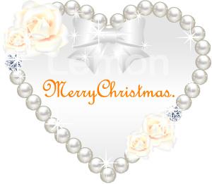 キラキラ素材 パールとバラ<br>□ファイル形式:【JPG PNG】<br>「Merry Christmas.」ロゴ入り
