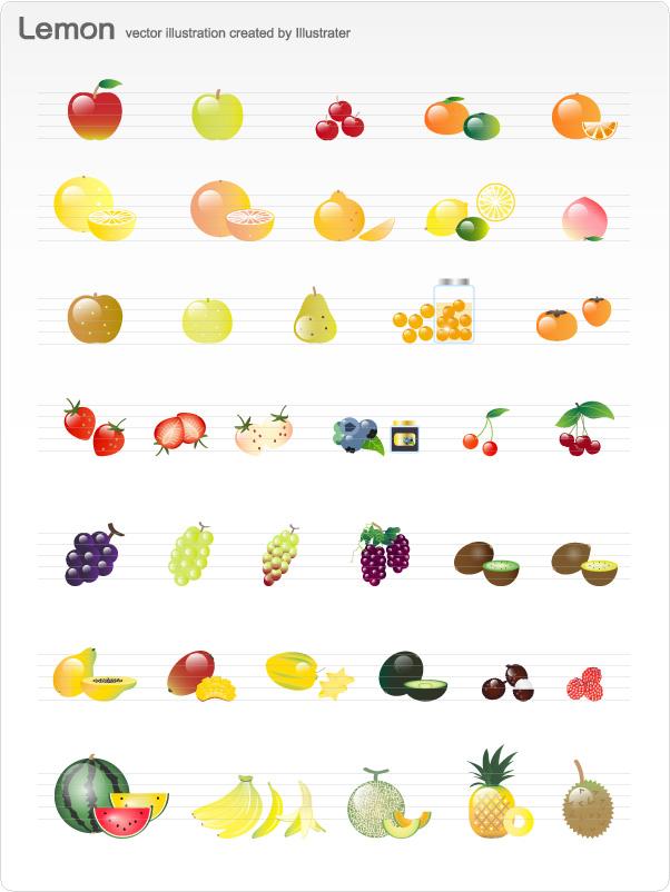 """果物 フルーツのイラスト □ファイル形式:【JPG PNG】 <a href=""""http://www.d-lemon.net/ca116/614/p-r95-s/"""">■イラストレーター AI版はこちら</a>"""