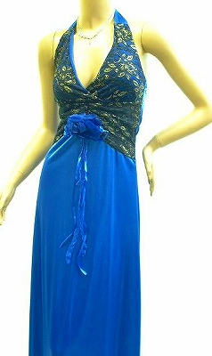 鮮やかなブルーのモンロードレス 金刺繍でゴージャスに♪♪♪ 花のコサージュ取り外し可能