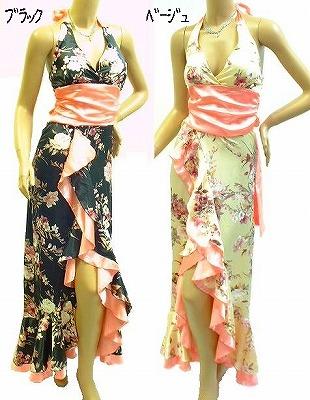 花柄のお買い得商品<br />珍しいベージュはどうですか?<br />サテンのきれいなドレスです