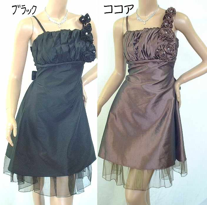 <p>どちらの色もシックな感じで<br>大人ってドレスです<br>胸元立体にパットでバッチリ!<br>花のコサージュは取外可</p><p><br></p>