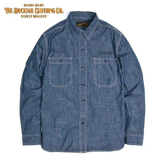 "<font face=""Arial"" size=""2"">DUCKTAIL CLOTHING CHAMBRAY SHIRTS ""STAND FIRM"" BLUE</font>"
