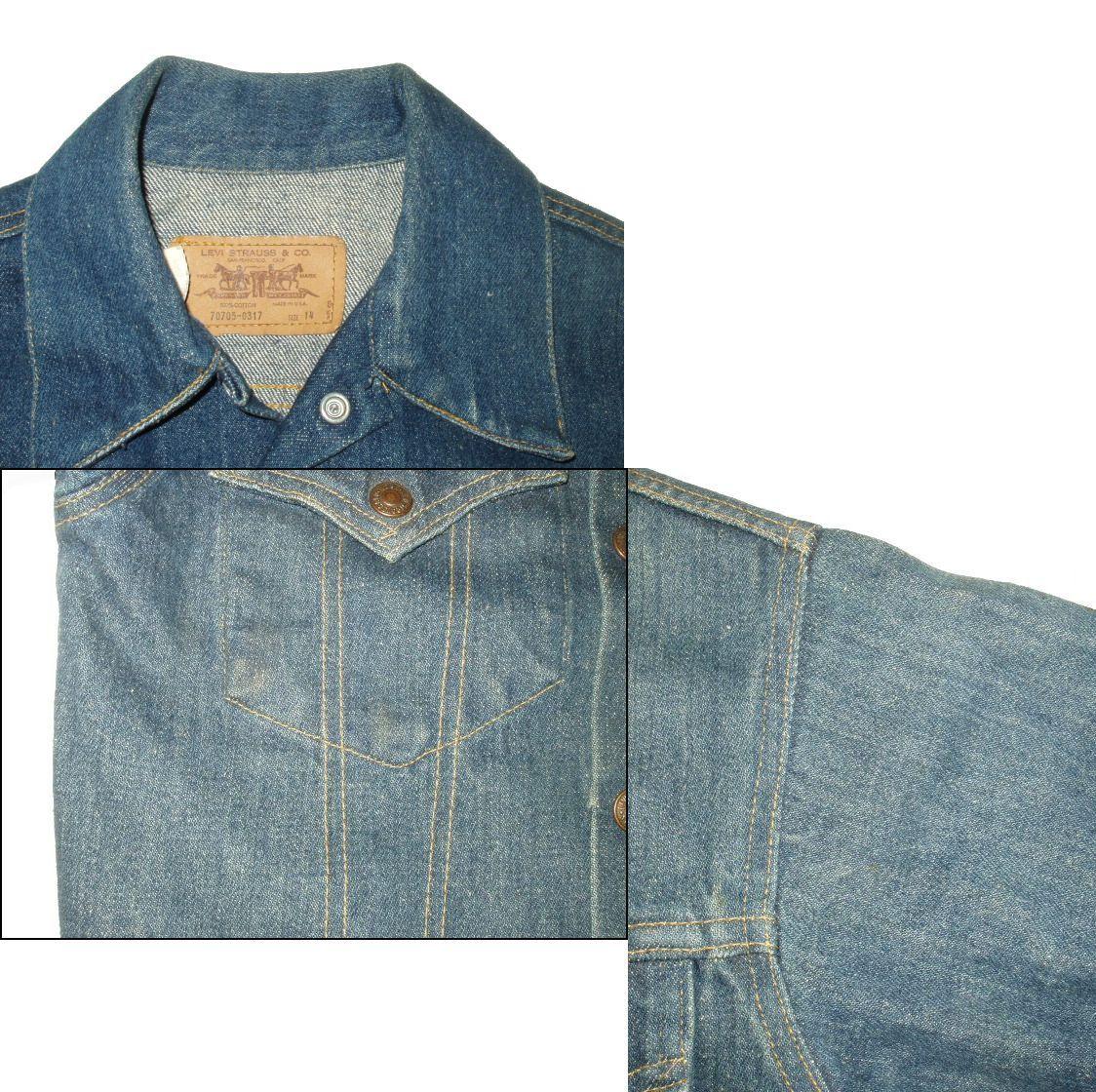 襟の内側や右ポケット、左腕付け根に汚れがあります。