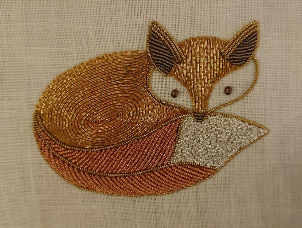 Goldwork Fox  横8cm、縦6cm