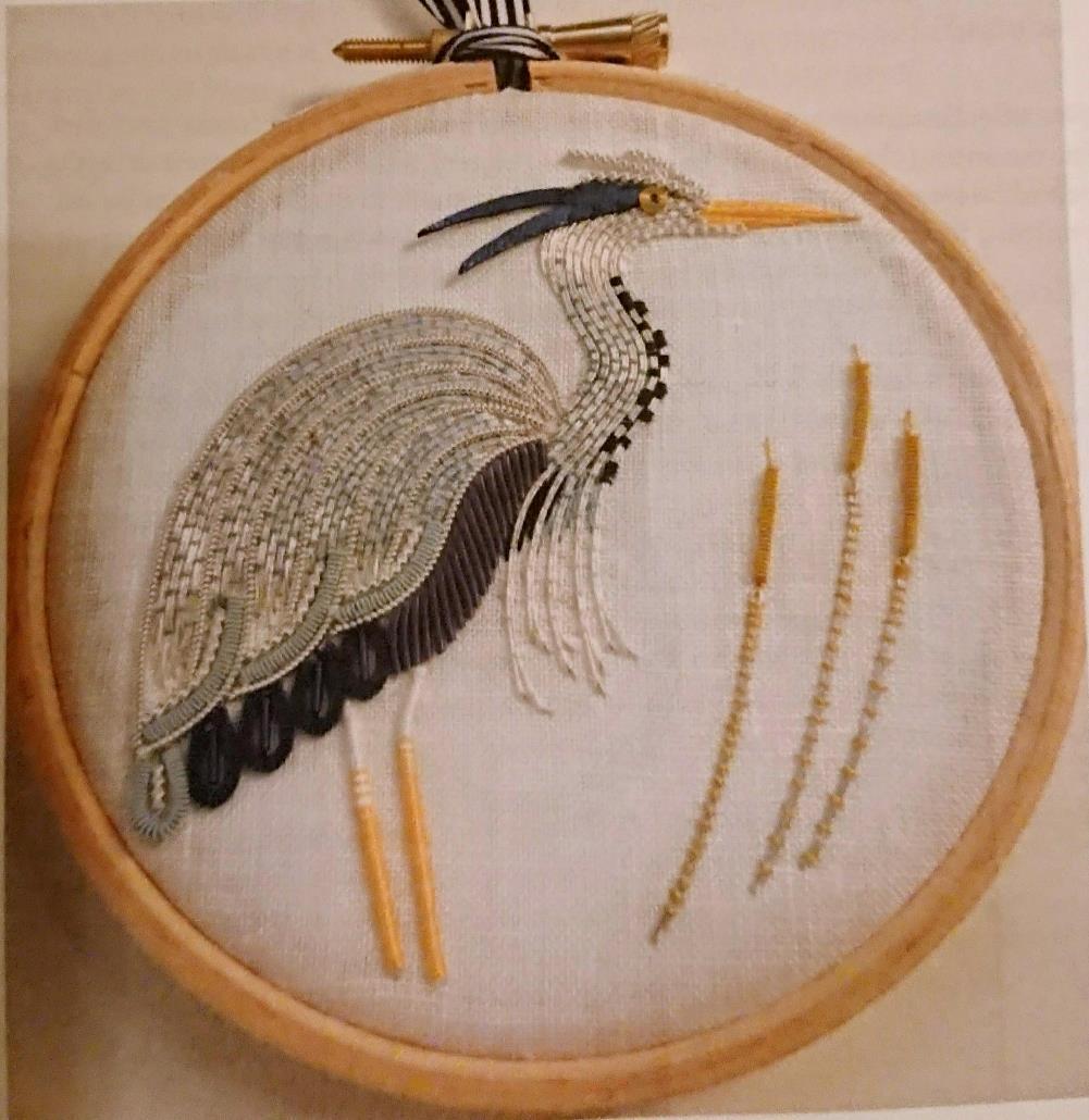 Goldwork Heron  横8cm、縦8.5cm