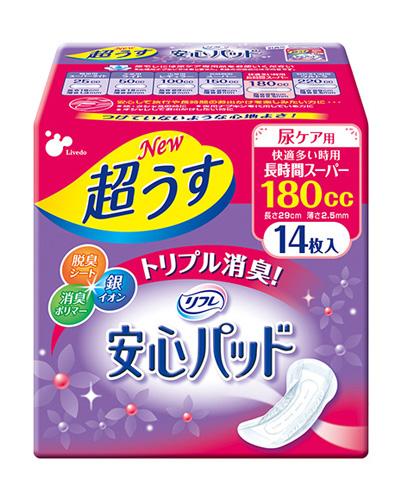 長時間スーパー<br>サイズ:13×29cm<br>1袋入数:14枚<br>吸収目安:180cc<br>テープ:全面あり<br><br>メーカー:リブドゥ<br>・小型で薄いパッド。(厚さ2mm)<br>・しっかり吸収。<br>・銀イオン効果で抗菌スッキリ消臭。