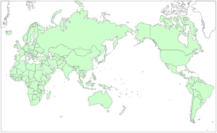 白地図-世界地図(日本中心)