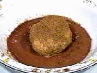 サクランボウのシャーベットのベニエ、チョコレート風味