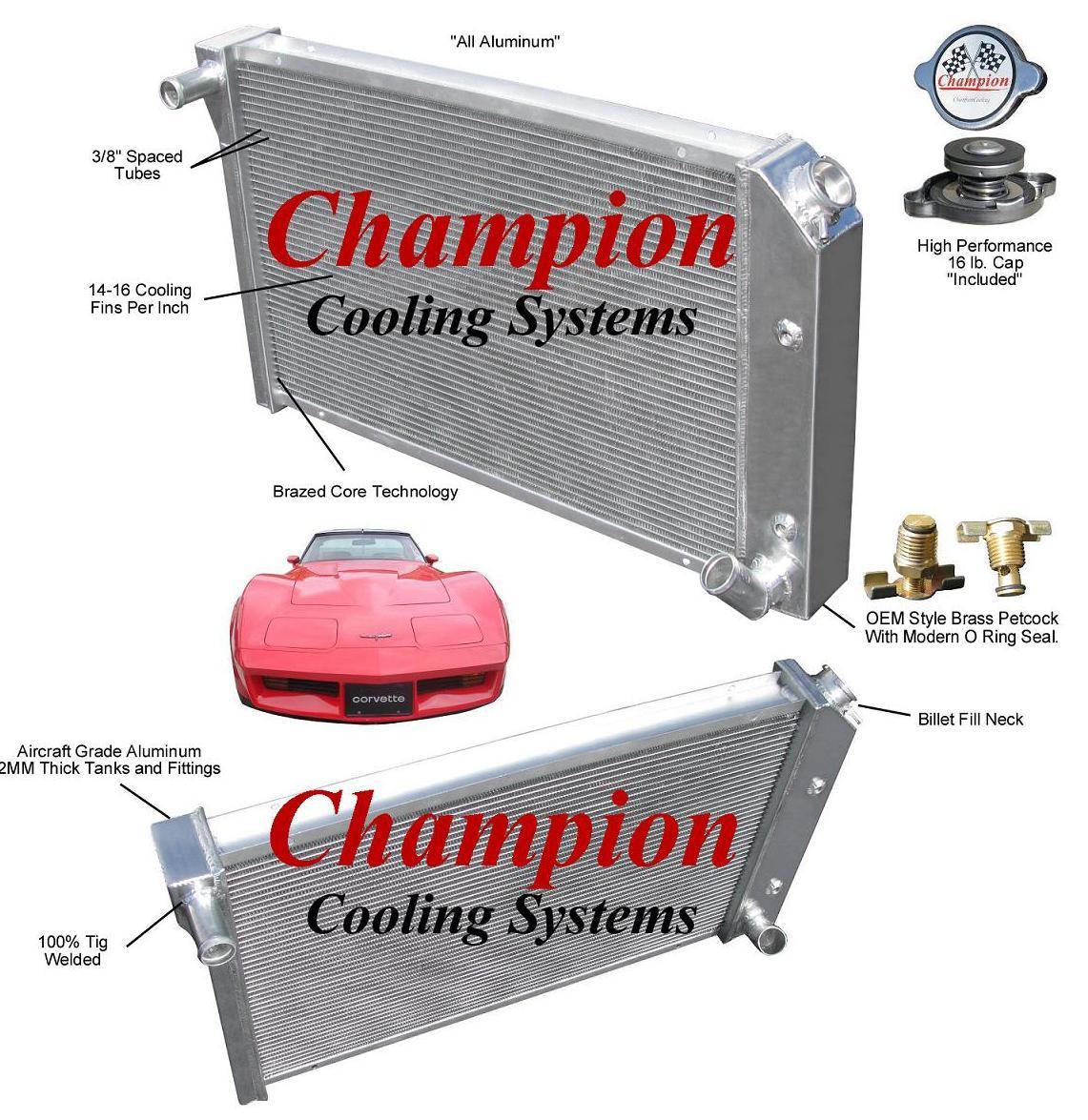 Champion Motors International: 78-83 コルベット C3 Champion 3層 アルミ ラジエター CC718 -Global Motor