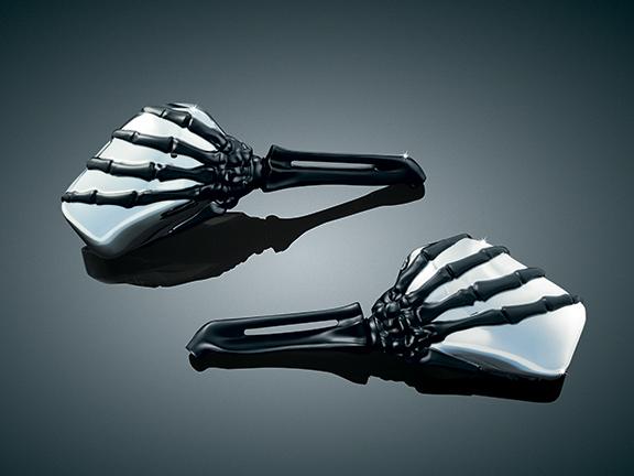 SKELETON HAND MIRRORS, CHR HEAD/BLK STEM
