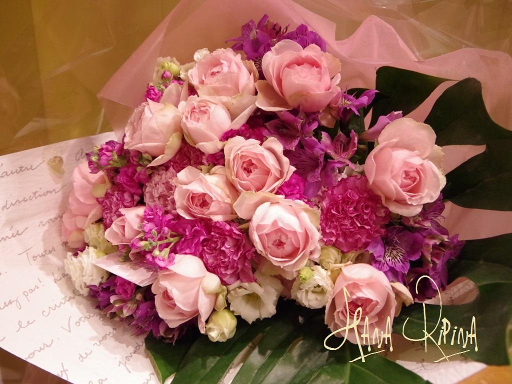 シュガーピンクのバラでsweetbouquet