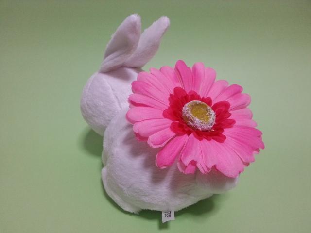 可愛らしいピンクのガーベラをお尻に咲かせたうさぎさんです。<br>見ているだけでも優しい気持ちになれます。<br>女の子から女性に一番人気なのでプレゼントにもいいですよ。<br><br>