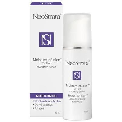 ネオストラータ オイルフリー モイスチャーローションは高い保湿力を持ち、肌に潤いを与えながら、より柔らかくしなやかな肌質へ改善します。また余分な油を吸収する成分が含まれているので、オイリー肌の方にもオススメの商品です。