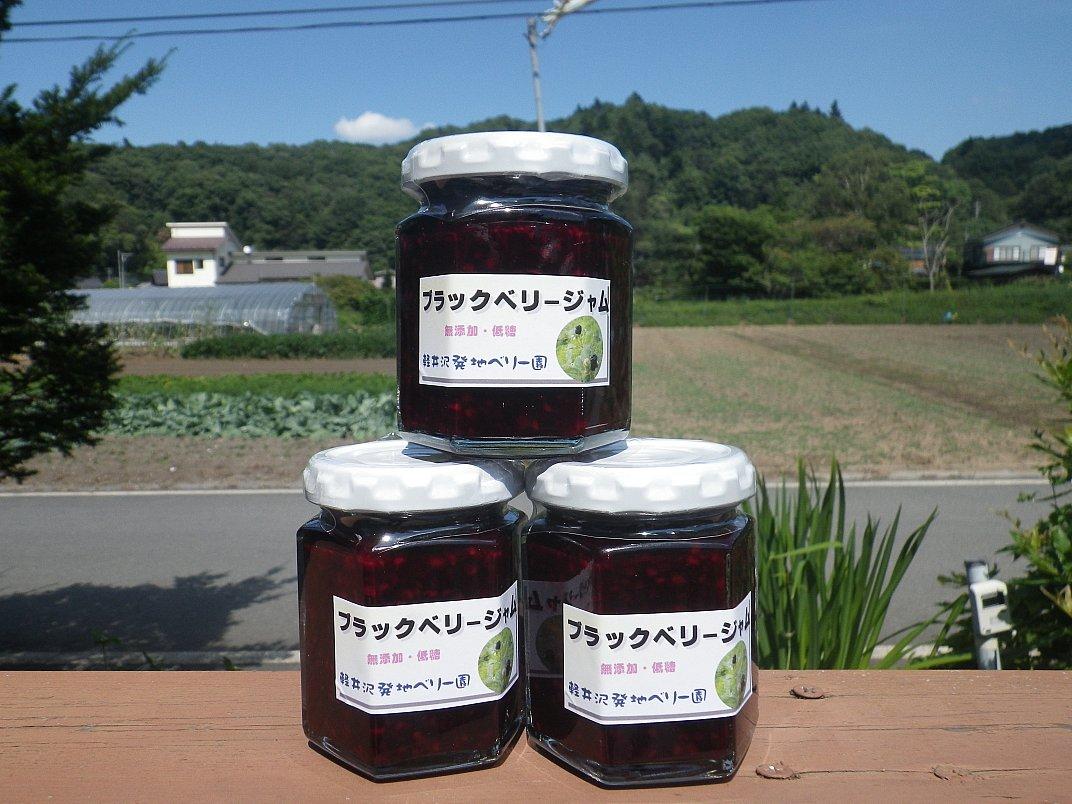 <div>ブラックベリーも自家栽培です。いくつかの種類がありますが<br>今年から実ってきたのもあります。混ぜてジャムにしています。<br>種が気になるかも知れませんが木イチゴの独特の風味を味わって下さい。少しゆるめですが、やはり酸味が利いた「大人のジャム」の一つです。</div><div>ないようりょ</div>