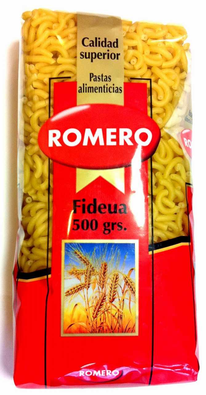 代表的なスペイン料理フィデウア(パスタのパエリヤ)をはじめ、サラダの材料など幅広く利用できる、中に穴の空いた極細マカロニ状のパスタです。ゆで時間は10分。太さは2~3mm。パックのサイズは縦18cm、横10cm、高さ5cm。<br><br><br><br>品名   パスタフィデウア<br>ブランド Romero<br>内容量  500g/袋<br>荷姿   500g×20袋<br>原産国  スペイン<br>保存基準 常温<br>賞味期限 3年<br><br>