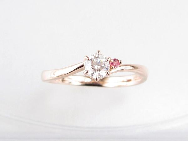 ピンクゴールドでの婚約指輪製作例/当店なら自作手作りもできます。