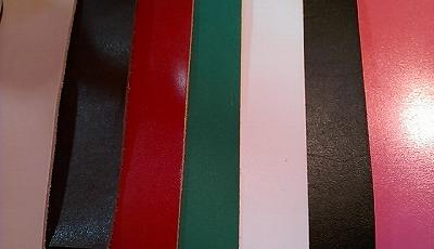 革の色見本です。左からナチュラル、ダークブラウン、赤、緑、白、黒、ピンクです。