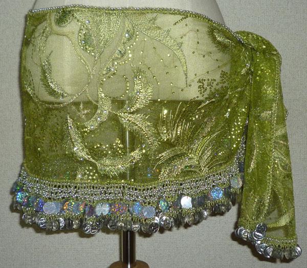 シースルーの薄い生地に、草の刺繍があり、スパンコールが散りばめてあります。  裾に銀コインが2種類(プラスティックコイン・金属コイン)ついています。 プラスティックコインは、光に当たると多様な色に光ります。  縦30cm×横186cm(コインがついている部分94cm)