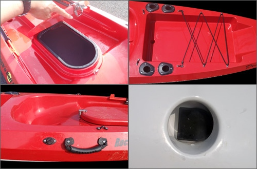 片手で開閉が可能な、利便性に優れたセンターハッチは、突然の雷やサーフランディングの際に6ft程度のロッドが収納可能です。