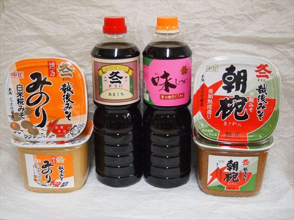 味噌「みのり」・「朝椀」1㎏各2個 醤油「甘口」・「だし入り」1L各1本。
