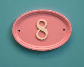 ナンバーサイン oval 楕円形 W15cm x H10cm(モチーフ不可)
