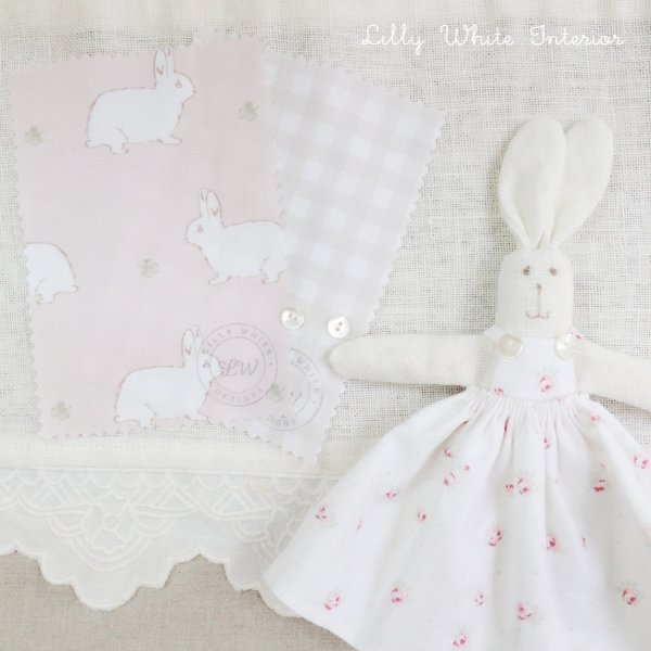 Lilly White Designs -Rabbit & Clover- blossom pink リリィホワイト・ラビット&クローバー(ブロッサムピンク)コットン生地