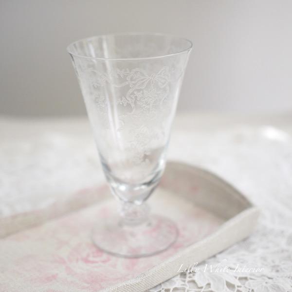 Fostoria フォストリア・ロマンス*エレガントグラス*リボンとお花のアイスティーグラス*Small*