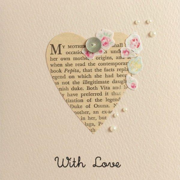 多目的グリーティングカード With Love /ハートにお花のコラージュP〔クリックポスト発送可〕
