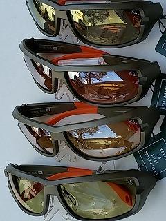 上からトゥルービュースポーツゴールドミラー、アクショウンコパーシルバーミラー、ラスターオレンジシルバーミラー、イーズグリーンハードマルチシングル。