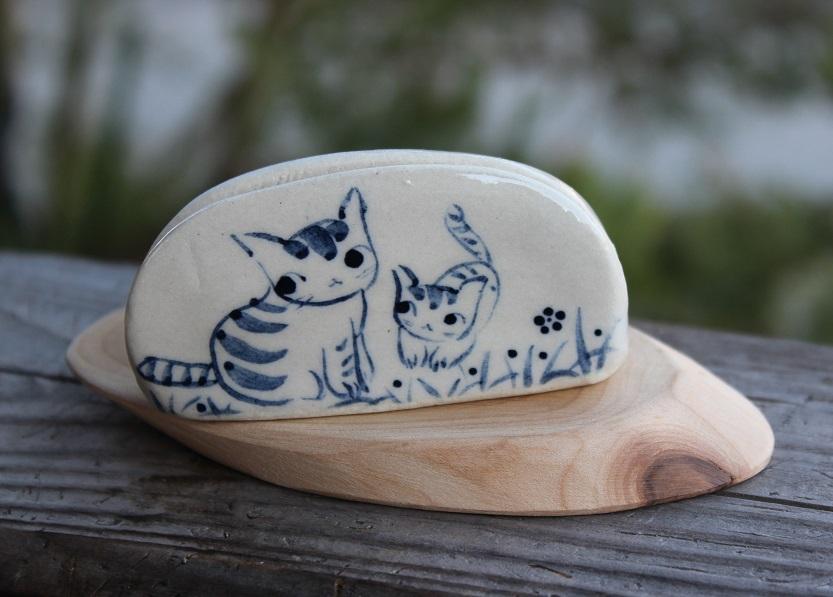 藍染カラーの親子猫