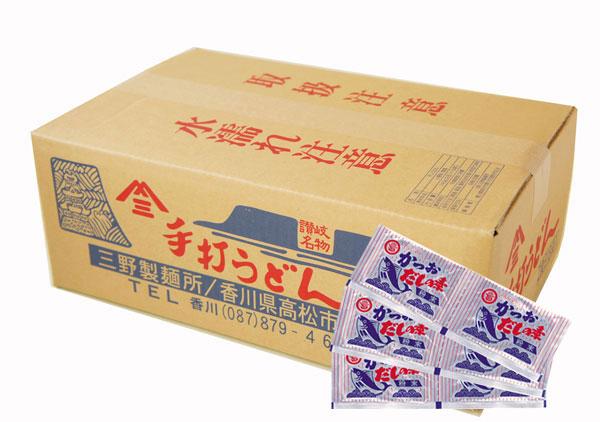 ダシは小豆島の丸島醤油の鰹節.昆布.粉末醤油をブレンドした粉末ダシ。お湯で薄めてかけつゆでお召し上がりください。
