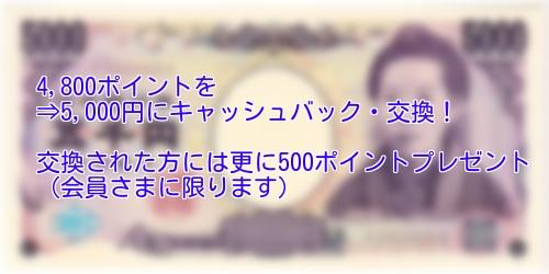 キャッシュバック☆4,800ポイントより