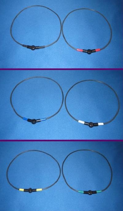健康ネックレス(細いタイプ)首用塩化ビニール製 脱着器付 ポイント部分の6色