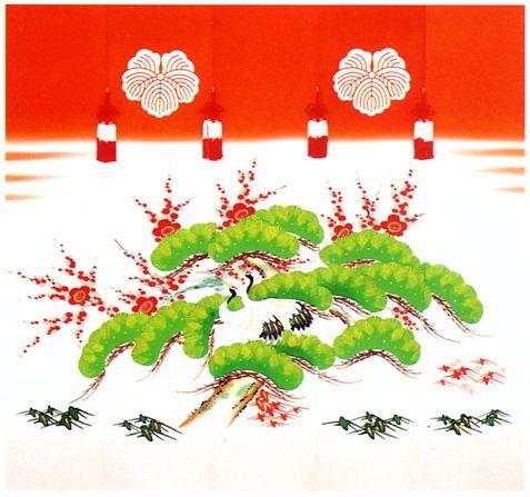 松に鶴 手描き クリックすると大きい画像が見られます。