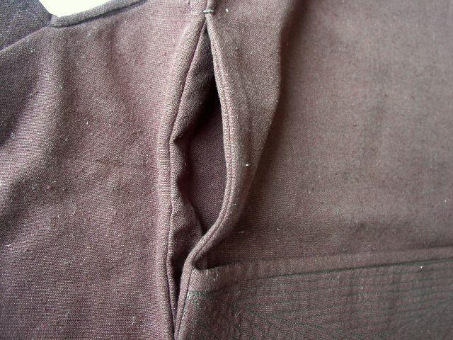 オーダー祭り腹掛 脇部詳細 脇からのポケットが付いています。(黒久留米絣)