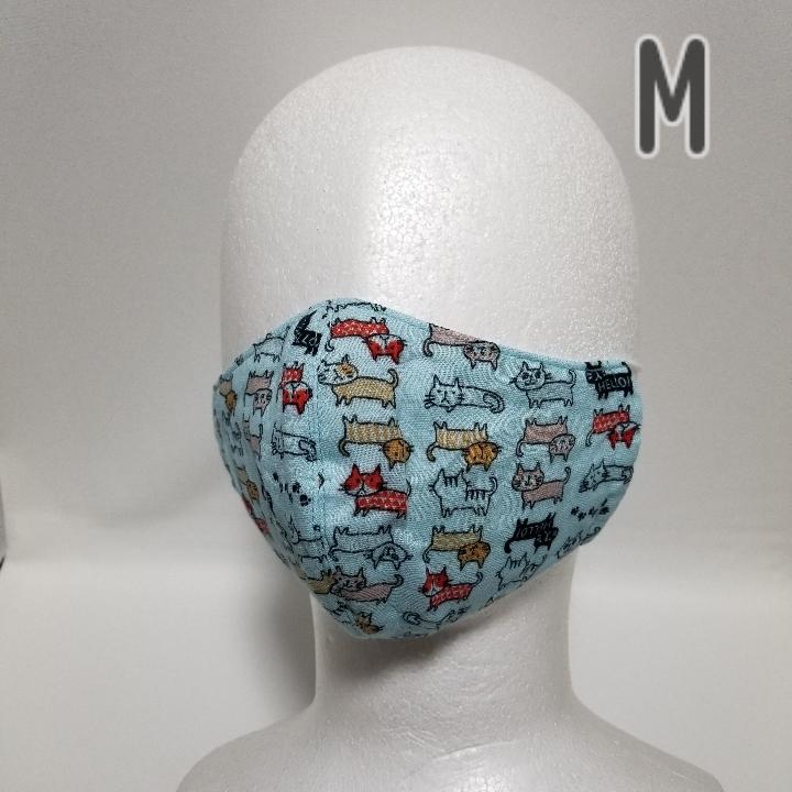 【数量限定】猫柄マスク/ガーゼ Mサイズ 2枚組