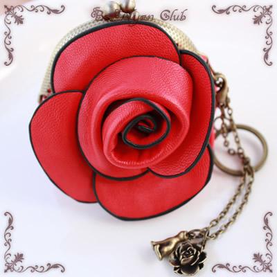 薔薇(ばら)のがま口【レッド】(バッグチャーム)