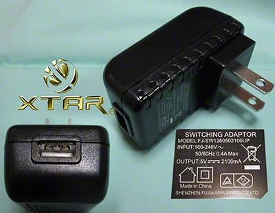 Xtar VC2/VC4 用AC-USBアダプタ 2.1Aです。<br>最高2.1AのUSB電源となります。<br>こちら安心のPSE付きです。<br><br>ポスパケットでは発送できません。<br>