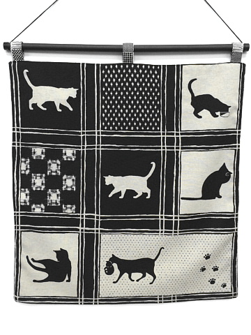 <p>&nbsp; </p><p>☆・::::・☆・::::・☆・::::・☆・::::・☆<br>&nbsp;</p><p><br></p><p>画像をクリックすると大きくなります。<br><br>猫柄の生地をタペストリーに<br>してみました。<br>表と裏、二重縫いで猫の柄が違います。<br><br>お部屋のアクセントにいかがでしょうか?♪<br></p><p>色は黒と紺の2種類ございます。</p><p>タペストリー用の棒は付いていませんので<br>お手持ちの棒をご利用ください。<br>別売り「タペストリー用棒セット」の場合は寸法上、<br>下棒のキャップがはめられませんのでご了承ください。</p><p><br>サイズ 縦 約57cm(棒通し含まず)<br>   &nbsp;&nbsp; 横 約54cm</p><p><br>日本製 綿生地<br></p><p><br>※多少の色落ちの可能性がございますので、<br> 洗濯の際は他のものと一緒にしないでください。<br><br></p>
