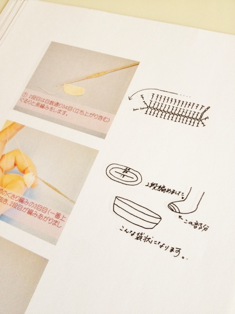 プロセス画像と編み図、立体図などを織り交ぜたわかりやすい解説。