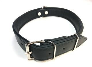 名前+電話番号の刻印プレート・レザー首輪(大型犬用)黒
